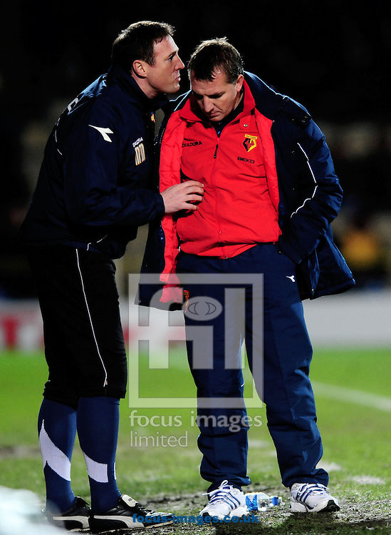 London - Tuesday, January 27th, 2009: Brendon Rogers, manager  of Watford, (R) and assistant Malky Mackay pictured during a league game in January. Rogers and his team will face his former employers Chelsea in the FA Cup this weekend.<br /> (Pic by Daniel Hambury/Focus Images)