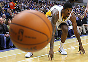 Feb. 21, 2012; Indianapolis, IN, USA; Indiana Pacers shooting guard Paul George (24) loses the ball out of bounds against the New Orleans Hornets at Bankers Life Fieldhouse. Indiana defeated New Orleans 117-108. Mandatory credit: Michael Hickey-US PRESSWIRE