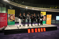 Image ©Licensed to i-Images Picture Agency. 12/12/2014. London, United Kingdom. <br /> <br /> Youth Club members from all around London take part in The Mayors Fund City Pitch 2014 at City Hall, London, UK.<br /> <br /> Picture by Ben Stevens / i-Images
