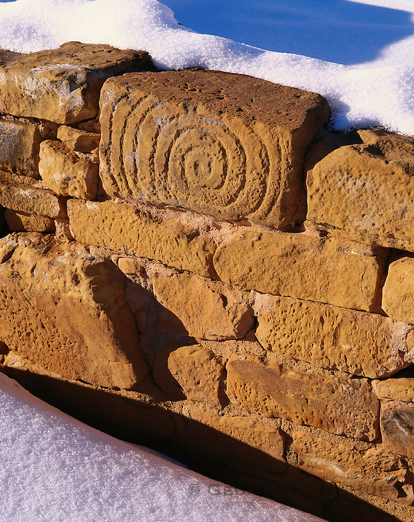0405-1014LVT ~ Copyright: George H. H. Huey ~ Petroglyph on wall of Far View House, winter. Anasazi culture pueblo, Chapin Mesa, occupied 12th/13th centuries. Mesa Verde National Park, Colorado.