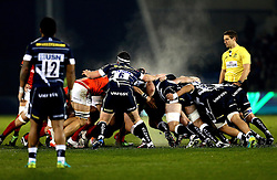 Sale Sharks and Saracens scrum as steam rises into the cold air - Mandatory by-line: Robbie Stephenson/JMP - 18/12/2016 - RUGBY - AJ Bell Stadium - Sale, England - Sale Sharks v Saracens - European Champions Cup
