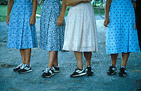 the shoes of four Mennonite girls in Pennsylvania Dutch country - Photograph by Owen Franken - - Photograph by Owen Franken