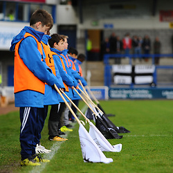 TELFORD COPYRIGHT MIKE SHERIDAN Ballboys lower flags as part of a remembrance sunday tribute during the Vanarama National League Conference North fixture between AFC Telford United and Boston on Saturday, November 2, 2019.<br /> <br /> Picture credit: Mike Sheridan/Ultrapress<br /> <br /> MS201920-028