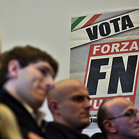 Como, Italy - 9 December 2017: Forza Nuova press conference in Como with Roberto Fiore. Italy's Democrats led a rally at the same time a few hundreds meters away to warn about a comeback of fascist movements in the country.