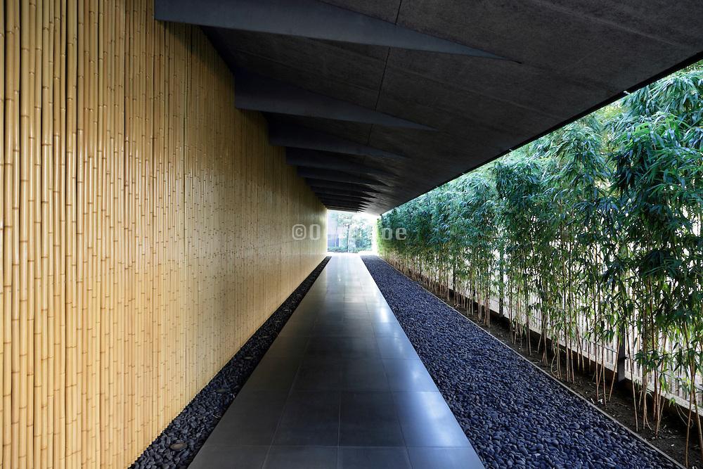 the long entrance corridor at The Nezu Museum building Tokyo Japan