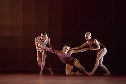 "© Licensed to London News Pictures. 09/10/2013. London, England. L-R: Michael-John Harper, James Pett and Daniela Neugebauer. World Premiere of ""Atomos"" by Sadler's Wells Associate Artist Wayne McGregor/Random Dance at Sadler's Wells Theatre, London, from 9-12 October 2013. Photo credit: Bettina Strenske/LNP"