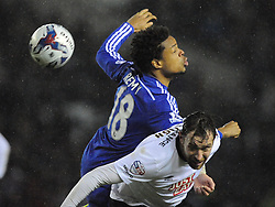 Chelsea Loic Remy battles with Derby Richard Keogh, Derby County v Chelsea, Capital One Cup Quarter Final, Score Derby 1(Bryson),  Chelsea 3 (Hazard, Luis, Schurrle) Pride Park Tuesday 16th December 2014