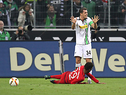 05.12.2015, Stadion im Borussia Park, Moenchengladbach, GER, 1. FBL, Borussia Moenchengladbach vs FC Bayern Muenchen, 15. Runde, im Bild Granit Xhaka (#34, Borussia Moenchengladbach) nach Foul an Kingsley Coman (#29, FC Bayern Muenchen), Borussia Moenchengladbach - FC Bayern Muenchen, Fussball, 1. Bundesliga, 05.12.2015, Foto: Deutzmann/Eibner // during the German Bundesliga 15th round match between Borussia Moenchengladbach and FC Bayern Muenchen at the Stadion im Borussia Park in Moenchengladbach, Germany on 2015/12/05. EXPA Pictures © 2015, PhotoCredit: EXPA/ Eibner-Pressefoto/ Deutzmann<br /> <br /> *****ATTENTION - OUT of GER*****