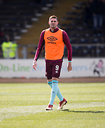 1st April 2018, Dens Park, Dundee, Scotland; Scottish Premier League football, Dundee versus Heart of Midlothian; Kyle Lafferty of Hearts