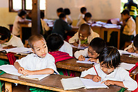 INLE LAKE, MYANMAR - DECEMBER 09, 2016 : children at school in Myanmar (Burma)
