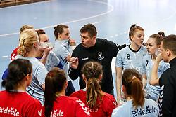 Sebastjan Oblak, head coach of ZRK Z Dezele talking to players during handball match between RK Ljubljana and ZRK Z Dezele in Bronze Medal game of Slovenian Women Handball Cup 2017/18, on April 1, 2018 in Park Kodeljevo, Ljubljana, Slovenia. Photo by Matic Klansek Velej / Sportida