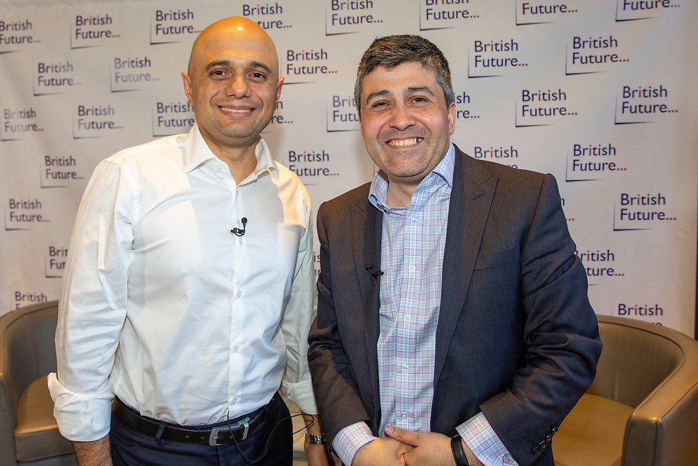 Sajid Javid MP discussing the challenges of identity in British society today, in conversation with Sunder Katwala, Director of thinktank British Future at The Royal Society London, United Kingdom, 6th June 2019.  Home Secretary Sajid Javid is the first British Asian politician to hold one of the great offices of state. He has declared that he will be a candidate to be the next Prime Minister in the forthcoming Conservative leadership election. (photo by Andrew Aitchison)