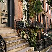 Massachusetts, Boston; Beacon Hill; Hancock Street Brownstone Residential Buildings