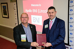 BNI Apollo (Lincoln)'s chapter president Simon Meadows (Sterling Business Coaching), left, welcomes the chapter's newest member Adrian Jones (Lloyds Employment Law Consultancy (LELC)).  Adrian has taken the health and safety consultancy seat in the chapter which meets at Lincoln City Football Club on Thursday mornings - 9.15am - 11am.<br /> <br /> Picture: Chris Vaughan Photography<br /> Date: January 11, 2018