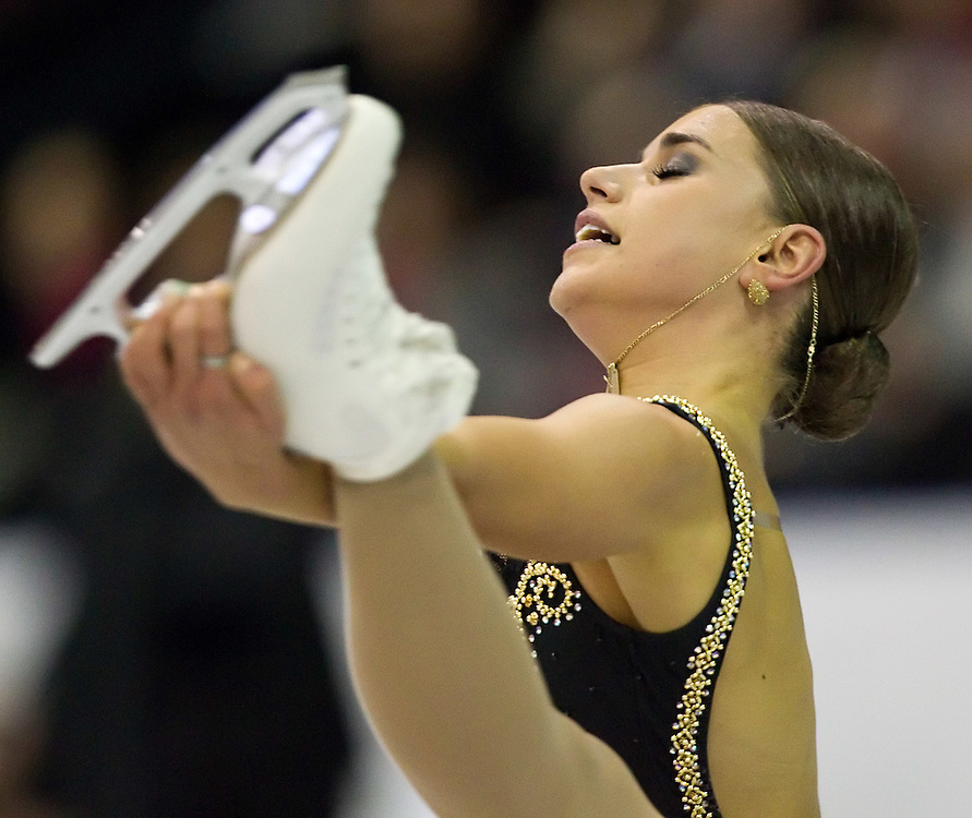 GJR -20111028- Mississauga, Ontario,Canada-  Cynthia Phaneuf of Canada skates her short program at Skate Canada International, October 28, 2011.<br /> AFP PHOTO/Geoff Robins