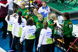 Players of National team of Slovenia and Lithuania during curling match between National teams of Slovenia and Lithuania in 6th Round of European Curling Championship on April 29, 2016 in Ledena dvorana Zalog, Ljubljana, Slovenia. Photo By Urban Urbanc / Sportida