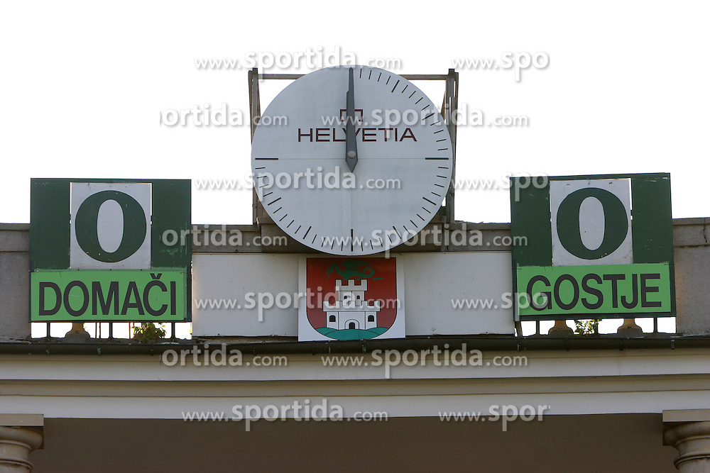 A clock and a semaphore at Bezigrad stadion for football made by Joze Plecnik in year 1935, before rebuilded in 2008. (Photo by Vid Ponikvar / Sportal Images)..