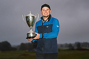 Eddie Pepperell of England with his winners trophy during the British Masters 2018 at Walton Heath Golf Course, Walton On the Hill, Surrey on 14 October 2018. Picture by Martin Cole.