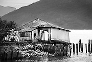 Derelict boat house.  Britannia Beach, near Squamish BC, Canada