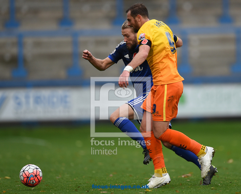 Kingsley James of FC Halifax and Paul Hayes of Wycombe Wanderers during the FA Cup match at Shay Stadium, Halifax<br /> Picture by Richard Land/Focus Images Ltd +44 7713 507003<br /> 08/11/2015
