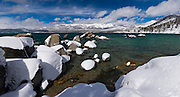 High resolution panoramic image of snowy boulders on the east shore of Lake Tahoe, Nevada.