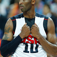 12 August 2012: USA Kobe Bryant rests during 107-100 Team USA victory over Team Spain, during the men's Gold Medal Game, at the North Greenwich Arena, in London, Great Britain.