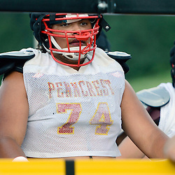 Staff photos by Tom Kelly IV<br /> Lineman Jonah Jackson (74) during Penncrest football practice on Tuesday August 26, 2014.