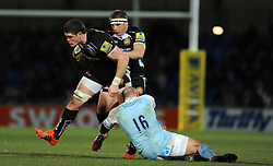 Exeter Chiefs Dave Ewers is tackled by Newcastle Falcons Rob Hawkins  - Photo mandatory by-line: Harry Trump/JMP - Mobile: 07966 386802 - 14/02/15 - SPORT - Rugby - Aviva Premiership - Sandy Park, Exeter, England - Exeter Chiefs v Newcastle Falcons
