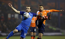 Jack Marriott of Peterborough United battles with Frankie Musonda of Luton Town - Mandatory by-line: Joe Dent/JMP - 09/01/2018 - FOOTBALL - Kenilworth Road - Luton, England - Luton Town v Peterborough United - Checkatrade Trophy