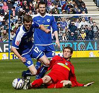 Photo: Steve Bond/Richard Lane Photography. <br />Leicester City v Colchester United. Coca Cola Championship. 12/04/2008. Richard Stearman (L) goes over under pressure from Matt Heath (R)