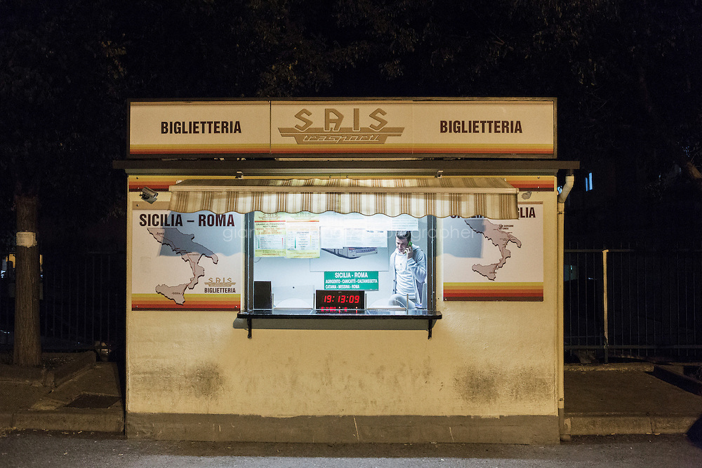 CALTANISSETTA, ITALY - 13 NOVEMBER 2014: The bus ticket office in Caltanissetta, Italy, where asylum seekers buy their tickets to Rome, on November 13th 2014.<br /> <br /> To this date, the Pian de Lago CARA (Accommodation Centre for Asylum Seekers) hosts 491 asylum seekers, while 40 illegal immigrants are held in the CIE (Center for Identification and Deportation), before being deported.