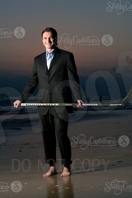 19 August 2003: NHL Russian ice hockey player #91Sergei Fedorov (RUS) makes a trip to Newport Beach, CA. Portraits of him posing on the beach at sunset in Southern California before becoming a key player for the Anaheim Mighty Ducks.  *Exclusive Photos*<br /> <br /> Sergei Viktorovich Fyodorov is a Russian retired professional National Hockey League ice hockey player and the general manager of CSKA Moscow of the Kontinental Hockey League. Fedorov played as centre in his career, also occasionally playing as a winger or defenceman.  Russian: Серге́й Викторович Фёдоров