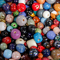 Africa, Kenya, Nairobi. Colorful beads at the Kazuri bead making factory in Karen district of Nairobi.