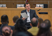 Houston ISD Superintendent Dr. Terry Grier comments during a central office staff meeting, September 8, 2015.