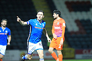 GOAL Ian Henderson celebrates scoring his second goal 2-0 during the EFL Sky Bet League 1 match between Rochdale and Northampton Town at Spotland, Rochdale, England on 17 October 2017. Photo by Daniel Youngs.