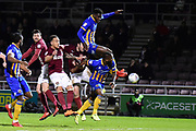 Shrewsbury Town defender Aristote Nsiala (22) leaps and shoots at goal during the EFL Sky Bet League 1 match between Northampton Town and Shrewsbury Town at Sixfields Stadium, Northampton, England on 20 March 2018. Picture by Dennis Goodwin.