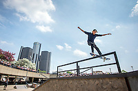 DETROIT - MAY 9: Curren Caples does a rail grind on his way to winning the Red Bull Hart Lines street skateboarding competition Saturday, May 9, 2015 at Hart Plaza in downtown Detroit. (Photo by Bryan Mitchell/Special to The Detroit News)