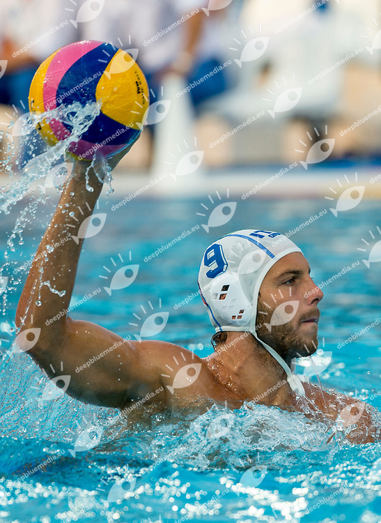 9 FIGARI Niccolo ITA<br /> Italy (White) Vs Montenegro (Blue) Men<br /> LEN European Water Polo Championships 2014 - July 14-27<br /> Alfred Hajos - Tamas Szechy Swimming Complex<br /> Margitsziget - Margaret Island<br /> Day14 - July 27<br /> Photo Giorgio Scala/Inside/Deepbluemedia