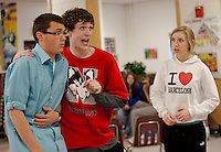 "Sven Gustafson/Lord Evelyn Oakleigh doesn't quite have his sea legs onboard the S. S. American while talking with stowaway Timothy Johnson/Billy Crocker as Tegan Kelly/Hope Harcourt looks on during rehearsal for ""Anything Goes"" Thursday evening.  (Karen Bobotas/for the Laconia Daily Sun)"