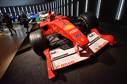 "© Licensed to London News Pictures. 14/11/2017. London, UK.  Michael Schumacher's Grand Prix winning Ferrari, F1, 2000.  Preview of ""Ferrari: Under the Skin"", an exhibition at the Design Museum to mark the 70th anniversary of Ferrari.  Over GBP140m worth of Ferraris are on display from private collections.  The exhibition runs 15 November to 15 April 2018.  Photo credit: Stephen Chung/LNP"