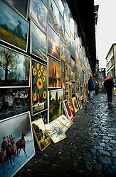 POLAND KRAKOW AUG96 - Polish naive paintings exhibited at a wall in Krakow's centre.<br /> <br /> jre/Photo by Jiri Rezac<br /> <br /> &copy; Jiri Rezac 1996<br /> <br /> Tel:   +44 (0) 7050 110 417<br /> Email: info@jirirezac.com<br /> Web:   www.jirirezac.com