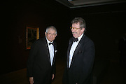 David Hockney and Sir Christopher Frayling. Dinner at the opneing of Degas, Sickert and Toulouse-Lautrec. Tate Britain. Pimlico, London.  London. 3 October 2005. . ONE TIME USE ONLY - DO NOT ARCHIVE © Copyright Photograph by Dafydd Jones 66 Stockwell Park Rd. London SW9 0DA Tel 020 7733 0108 www.dafjones.com