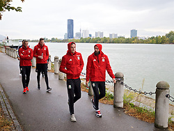 VIENNA, AUSTRIA - Thursday, October 6, 2016: Wales' Gareth Bale, goalkeeper Wayne Hennessey, Andy King and Joe Ledley during a pre-match walk at the Hilton Danube Waterfront Hotel ahead of the 2018 FIFA World Cup Qualifying Group D match against Austria. (Pic by David Rawcliffe/Propaganda)