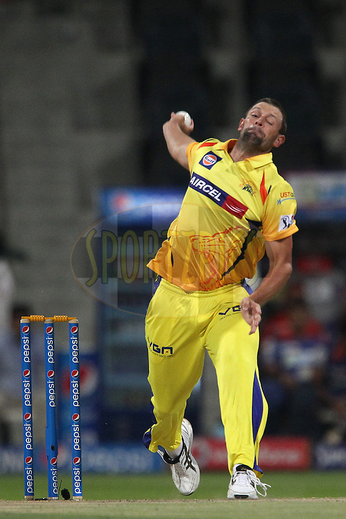 Ben Hilfenhaus of The Chennai Superkings during match 8 of the Pepsi Indian Premier League 2014 between the Chennai Superkings and The Delhi Daredevils held at the Zayed Cricket Stadium, Sharjah, United Arab Emirates on the 21st April 2014<br /> <br /> Photo by Ron Gaunt / IPL / SPORTZPICS