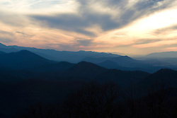 Sunset along the Blue Ridge Parkway, Virginia on January 12, 2008.