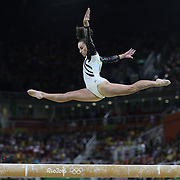 Gymnastics - Olympics: Day 2   Courtney McGregor #372 of New Zealand performing her routine on the Balance Beam during the Artistic Gymnastics Women's Team Qualification round at the Rio Olympic Arena on August 7, 2016 in Rio de Janeiro, Brazil. (Photo by Tim Clayton/Corbis via Getty Images)