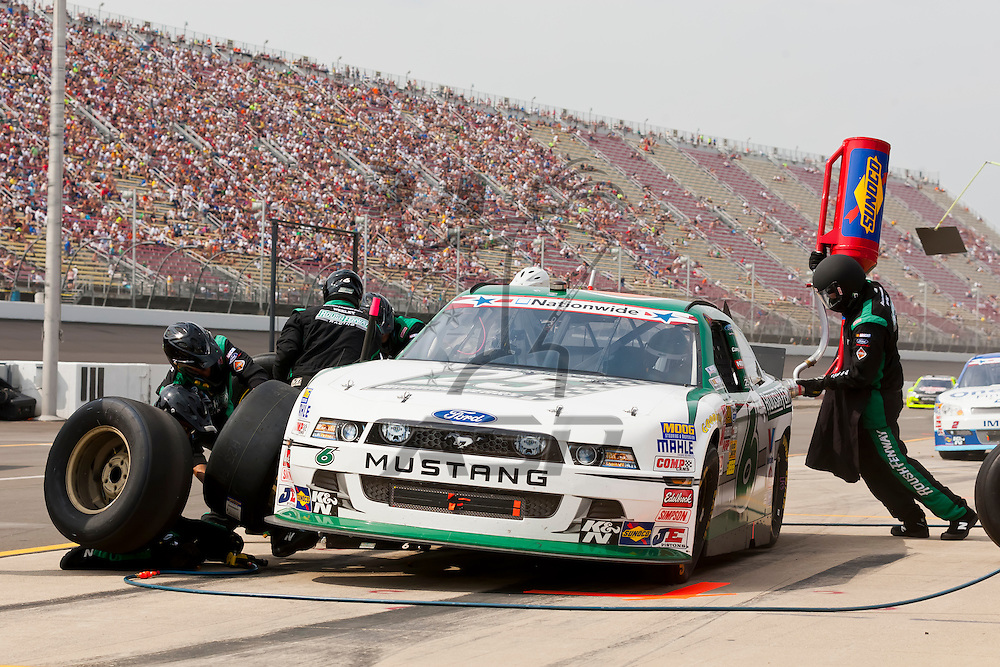 BROOKLYN, MI - JUN 16, 2012:  Ricky Stenhouse, Jr. (6) brings his Ford fusion in for service during the Alliance Truck Parts 250 at the Michigan International Speedway in Brooklyn, MI.