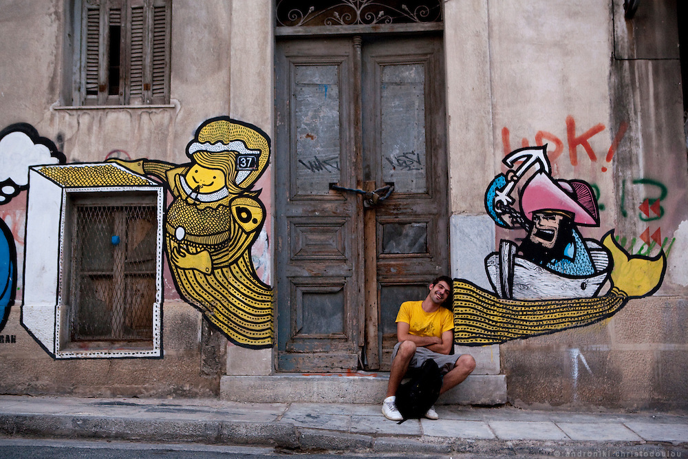 Graffiti in Athens, Greece. Artist:  b.