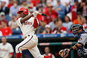27 Sept 2008: Philadelphia Phillies shortstop Jimmy Rollins #11 hits the ball during the game against the Washington Nationals on September 27th, 2008. The Phillies won 4-3 to clinch the National League Eastern Division title at Citizens Bank Park in Philadelphia, Pennsylvania