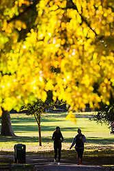 Two women take a walk in Queens Park, North West London as the early morning sunshine illuminates the leaves of trees as autumn colours begin to set in. London, October 01 2018.